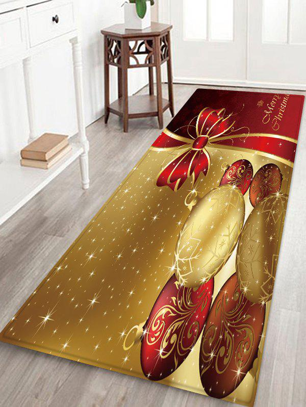 Christmas Balls Bowknot Pattern Water Absorption Area Rug - multicolor W24 X L71 INCH