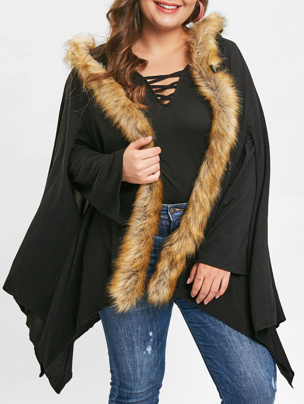 Plus Size Faux Fur Asymmetrical Coat - BLACK L