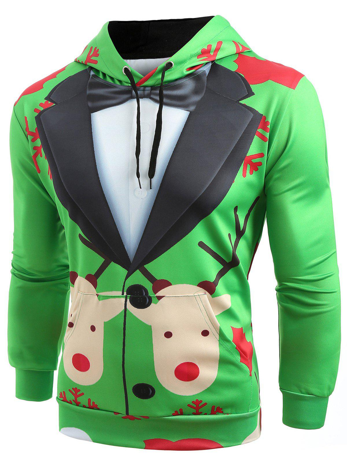 Christmas Faux Suit Print Pullover Hoodie - SHAMROCK GREEN XL