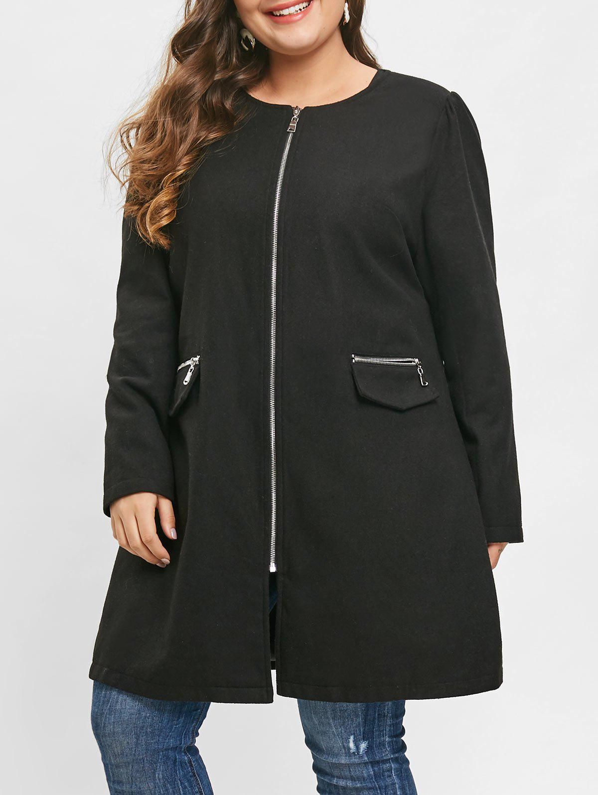 Plus Size Zip Fly Woollen Coat - BLACK L