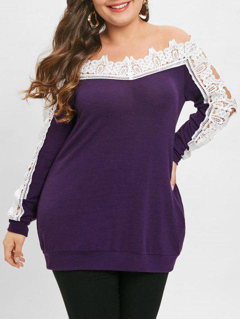 Plus Size Off Shoulder Lace Panel Tunic Tee