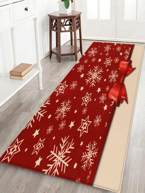 Christmas Snowflake Bowknot Printed Fleece Floor Mat - RED WINE W24 X L71 INCH