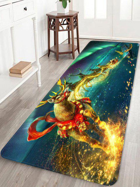 Christmas Deer Printed Flannel Floor Mat - JADE GREEN W24 X L71 INCH