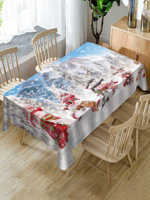 Snowmen and Snow Scenery Print Christmas Table Cloth - WHITE W54 X L54 INCH