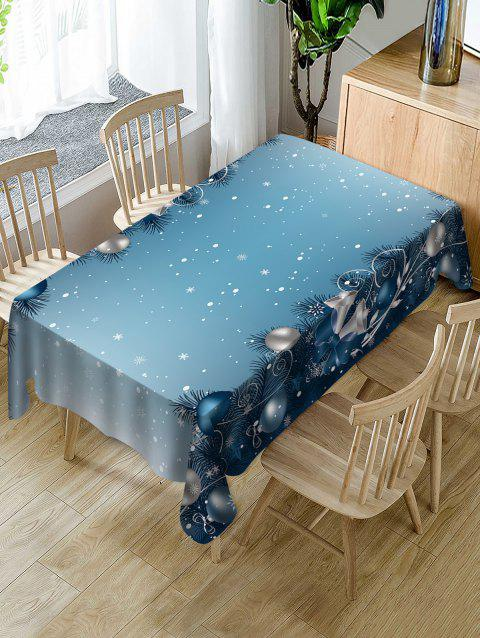 Christmas Baubles Snowflakes Printed Table Cloth - BABY BLUE W60 X L84 INCH