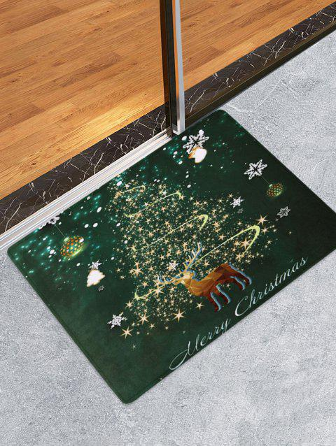 Deer Merry Christmas Tree Printed Fleece Floor Mat - PINE GREEN W16 X L24 INCH