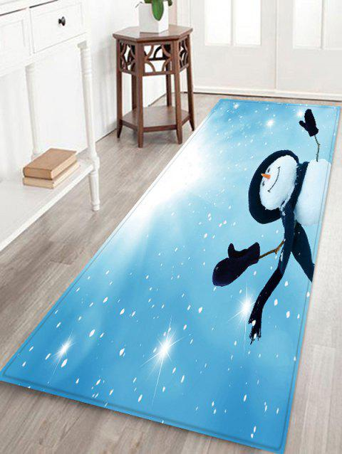 Sunlight Christmas Snowman Pattern Water Absorption Area Rug - multicolor W24 X L71 INCH