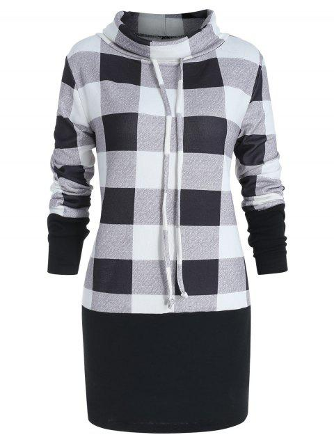 db9fcb8d92f LIMITED OFFER  2019 Plus Size Cowl Neck Plaid Panel Sweatshirt In ...