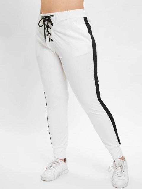 Plus Size High Waisted Lace Up Contrast Pants - WHITE L