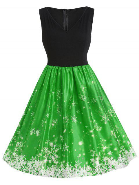 5761abcc546 29% OFF  2018 Plus Size Vintage Snowflake Christmas Dress In GREEN ...