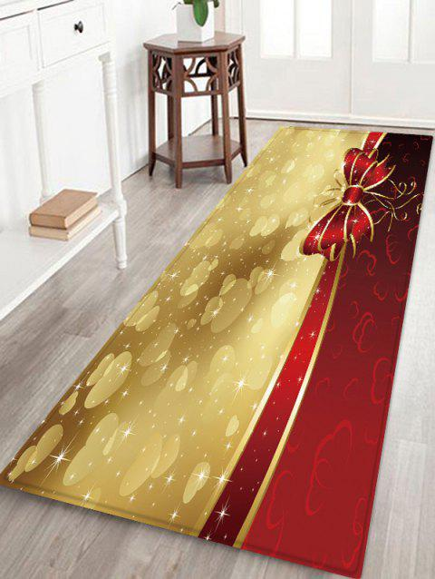 Christmas Bowknot Hearts Pattern Water Absorption Area Rug - multicolor W24 X L71 INCH