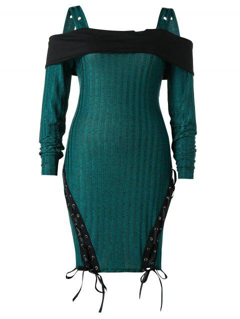 Plus Size Open Shoulder Lace Up Knit Dress - DARK GREEN 4X