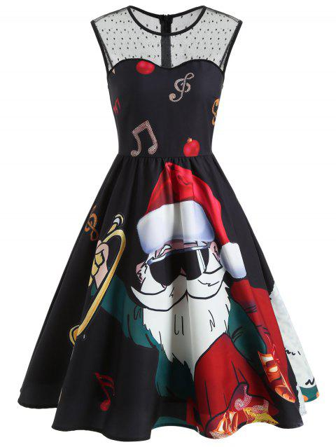 Vintage Sleeveless Christmas Santa Print Dress - BLACK M