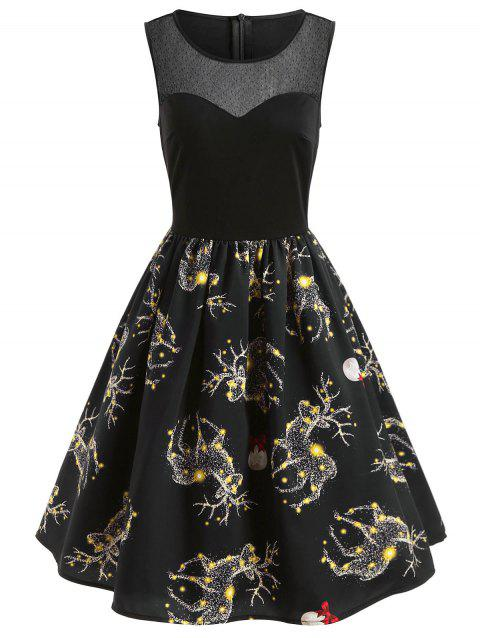 Christmas Elk Print Mesh Panel Dress - BLACK S