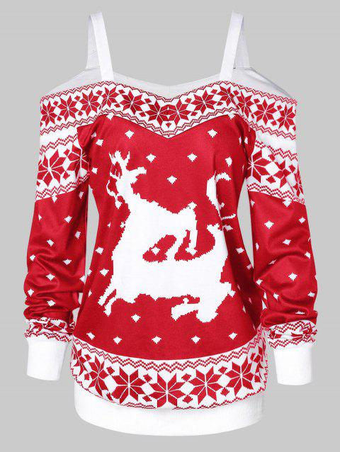 Cold Shoulder Snowflake Pattern Christmas T-shirt - LAVA RED M