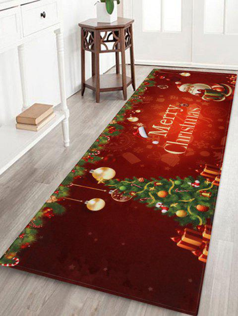 Father Christmas Tree Printed Fleece Floor Mat - RED WINE W24 X L71 INCH