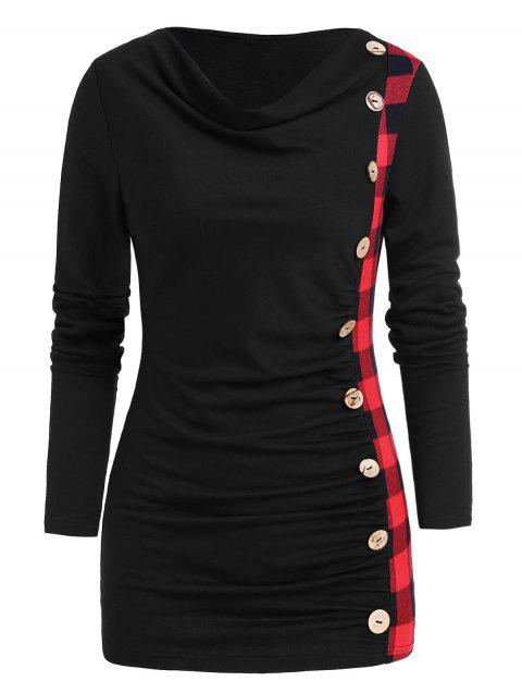 Cowl Neck Button Embellished Ruched Knitwear - BLACK XL