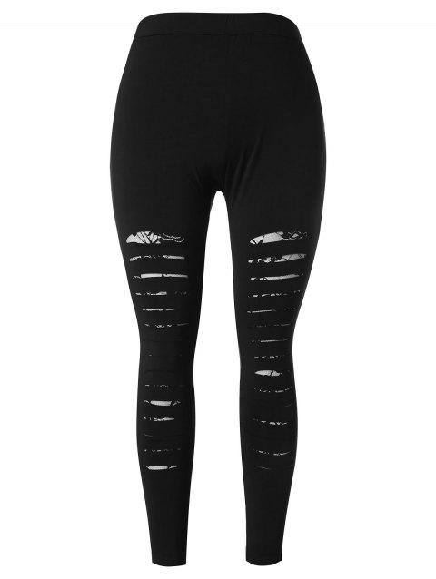 Plus Size Ripped Lace Insert Leggings - BLACK 3X