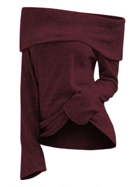 Off Shoulder Foldover Knit Top - RED WINE M