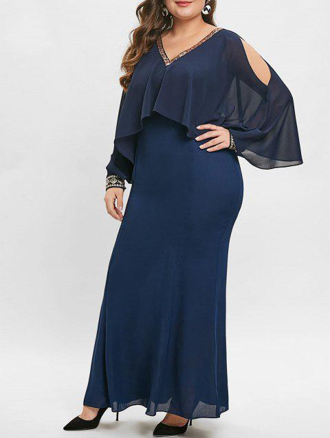 Plus Size Sequin Embellished Overlay Maxi Dress - DEEP BLUE 1X