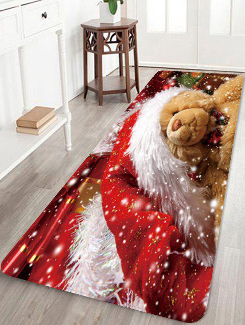 Christmas Bear Pattern Water Absorption Area Rug - multicolor W24 X L71 INCH