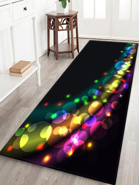 Christmas Colorful Light Printed Floor Mat - BLACK W16 X L47 INCH