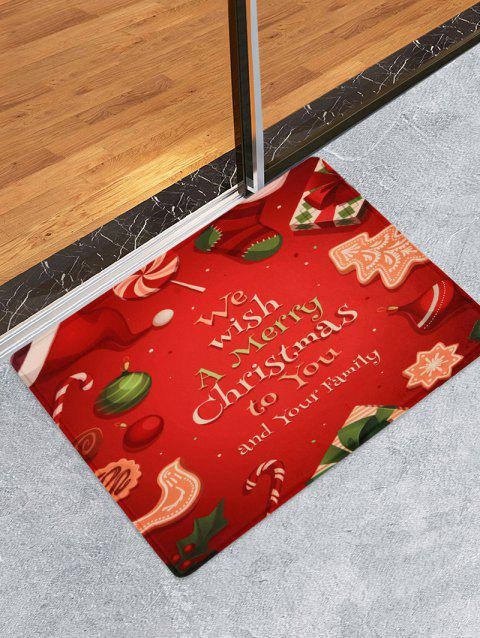 Merry Christmas Pattern Fleece Floor Mat - RED W16 X L24 INCH