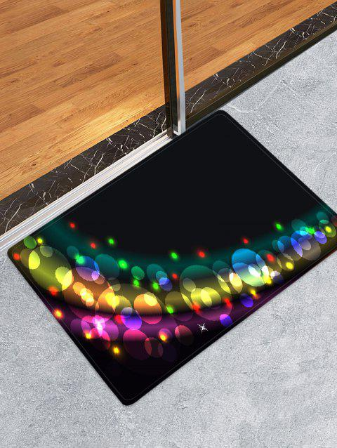 Christmas Colorful Light Printed Floor Mat - BLACK W20 X L31.5 INCH