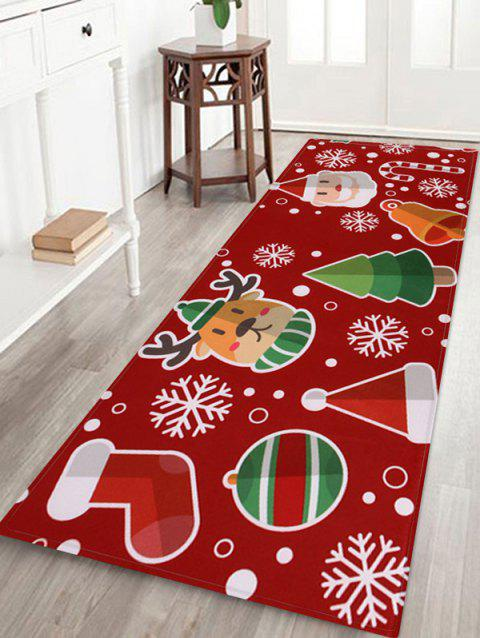 Father Christmas Tree Snowman Printed Fleece Floor Mat - RED WINE W24 X L71 INCH