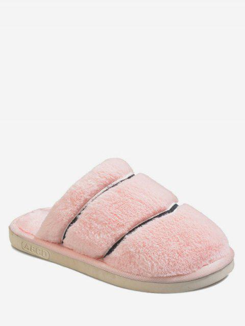 Striped Fuzzy Winter Slippers - PINK EU 40