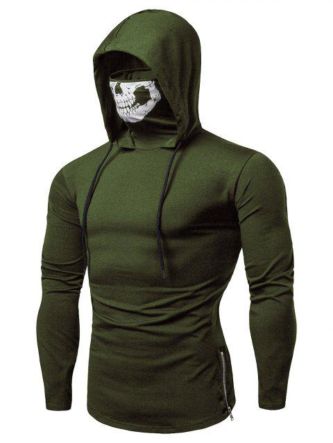 Fashion Drawstring Scare Mask Hoodie for Man - ARMY GREEN L