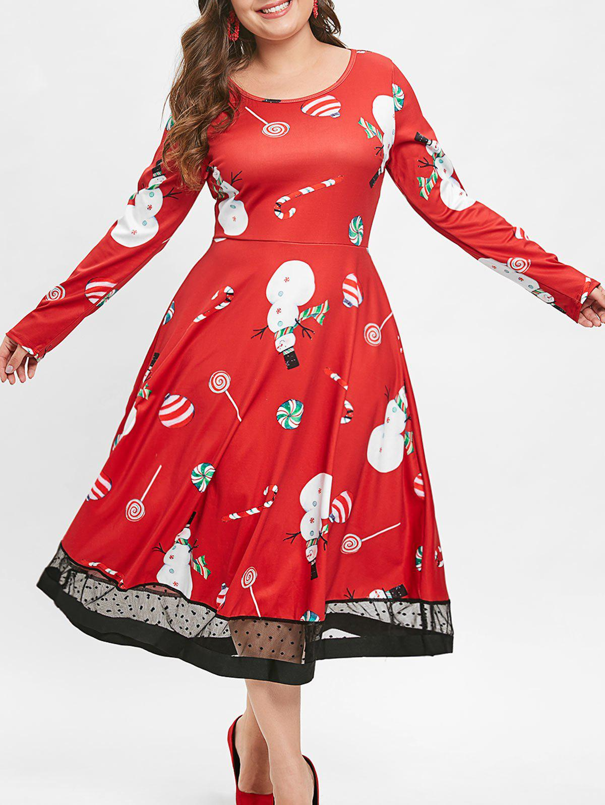 Christmas Plus Size Lollipop Snowman Print Dress