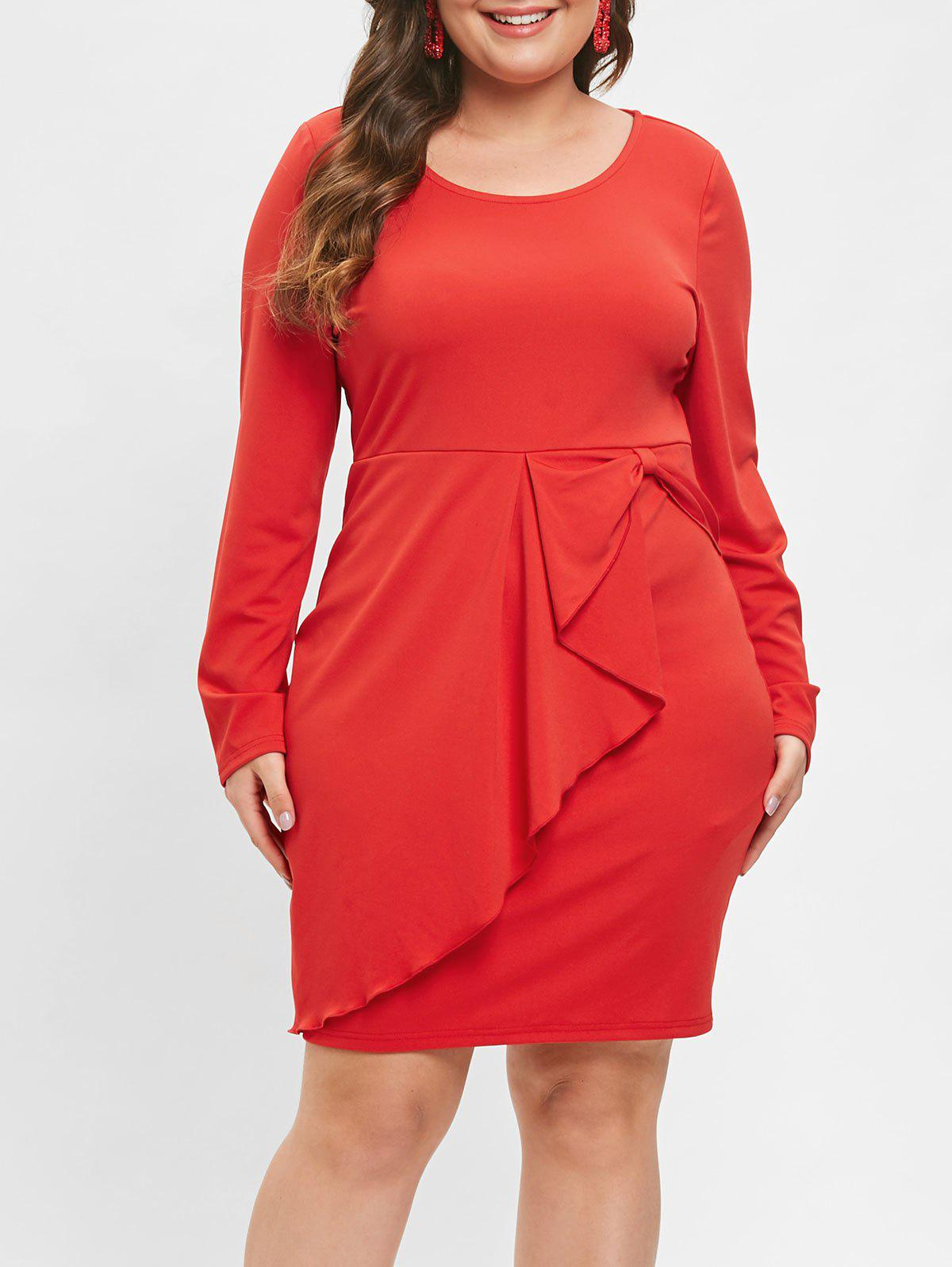 Plus Size Long Sleeve Ruffle Bodycon Dress