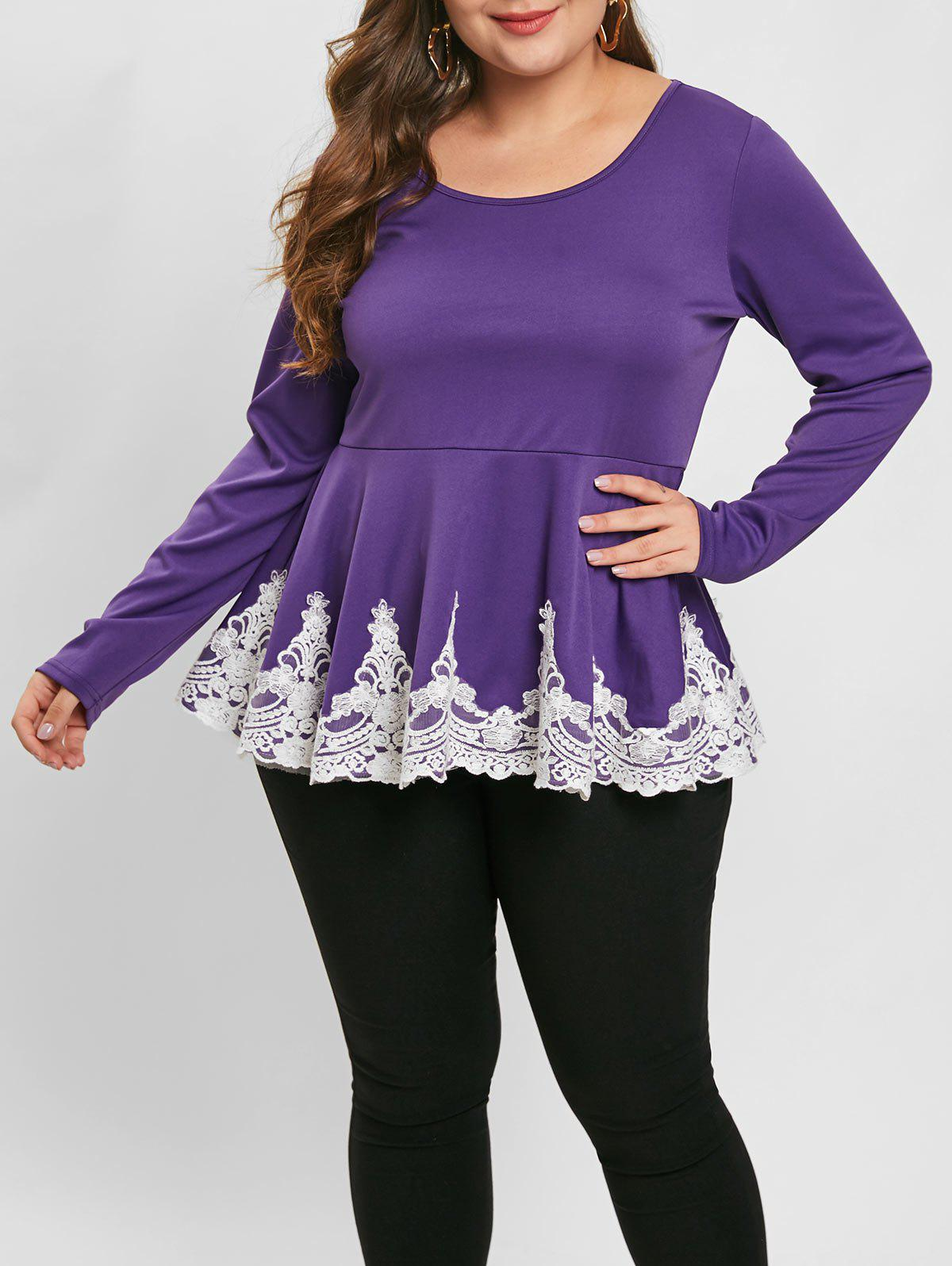 Plus Size Lace Insert Long Sleeve Peplum Top