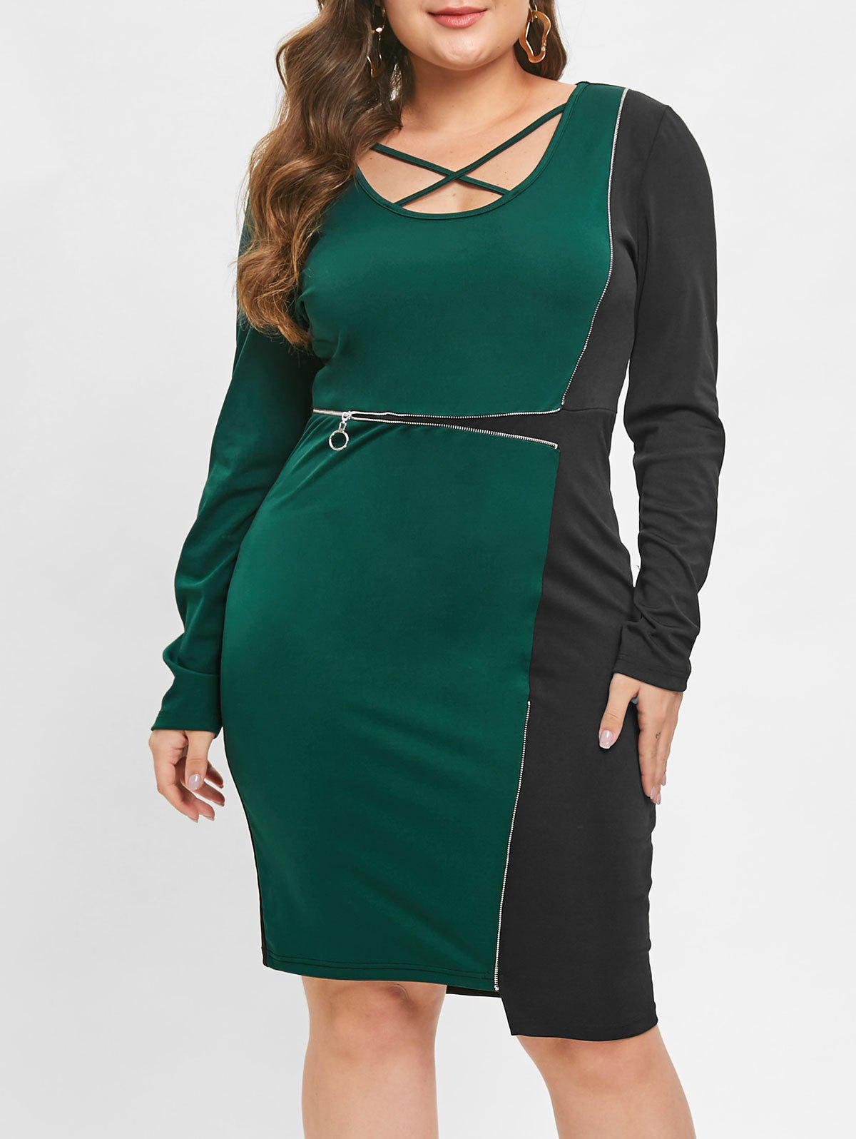 Criss Cross Two Tone Zippered Bodycon Dress - MEDIUM SEA GREEN L