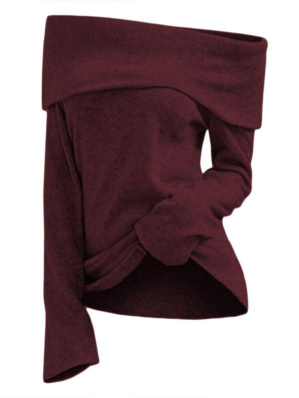 Off Shoulder Foldover Knit Top - RED WINE XL