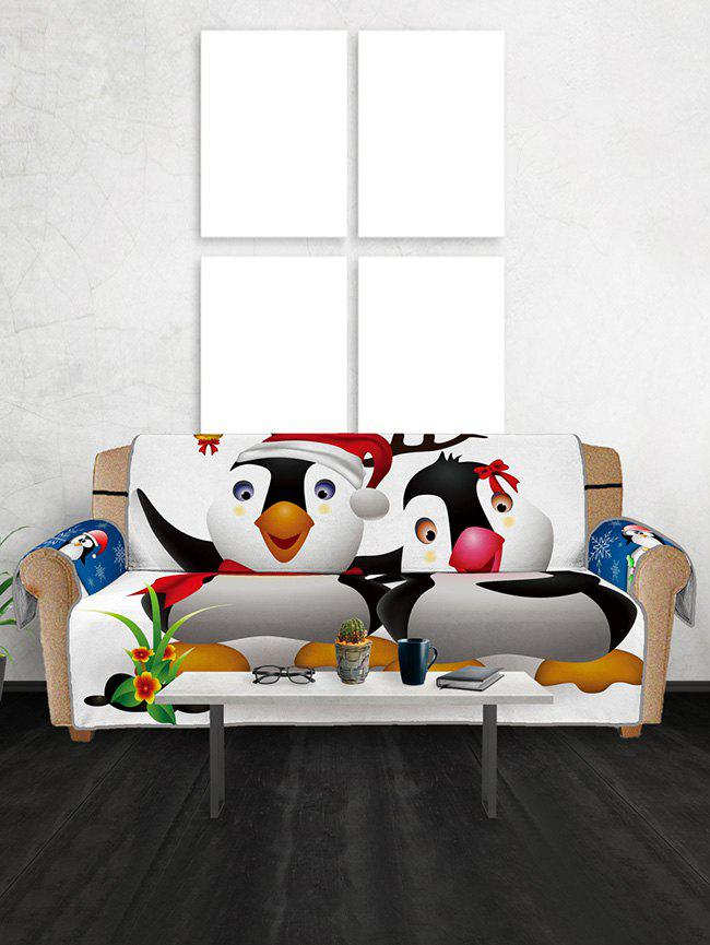Christmas Penguin Pattern Couch Cover - multicolor THREE SEATS