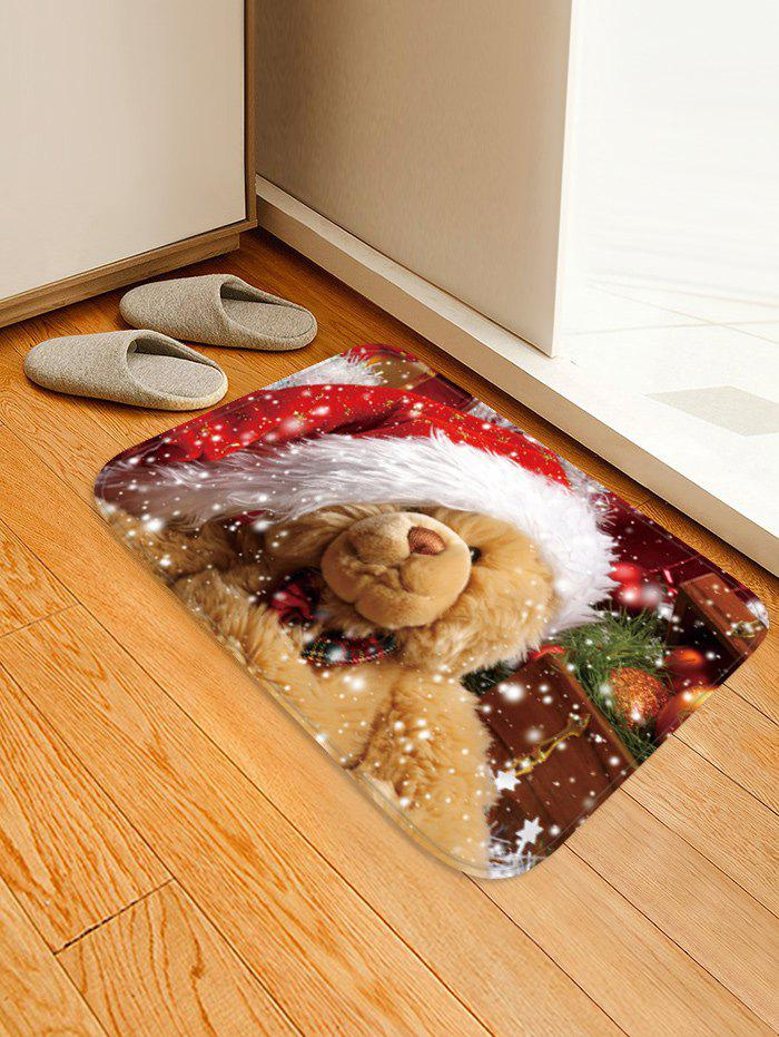 Christmas Bear Pattern Water Absorption Area Rug - multicolor W16 X L24 INCH