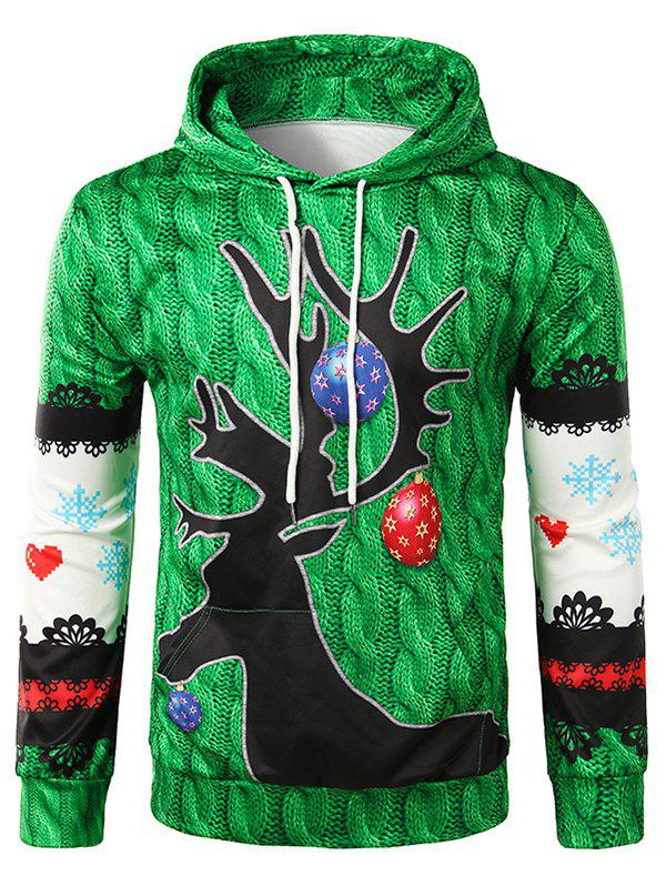3D Knitting Texture Print Pullover Christmas Hoodie - CLOVER GREEN M