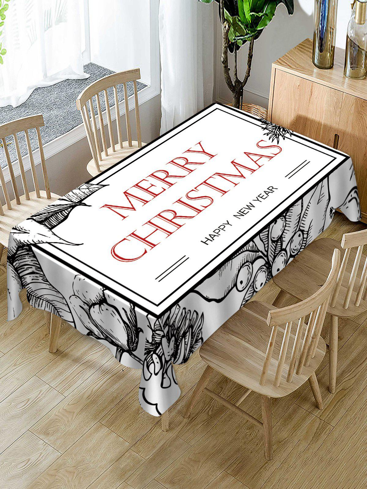 Geometric Pattern Christmas Letters Print Table Cloth - WHITE W54 X L72 INCH