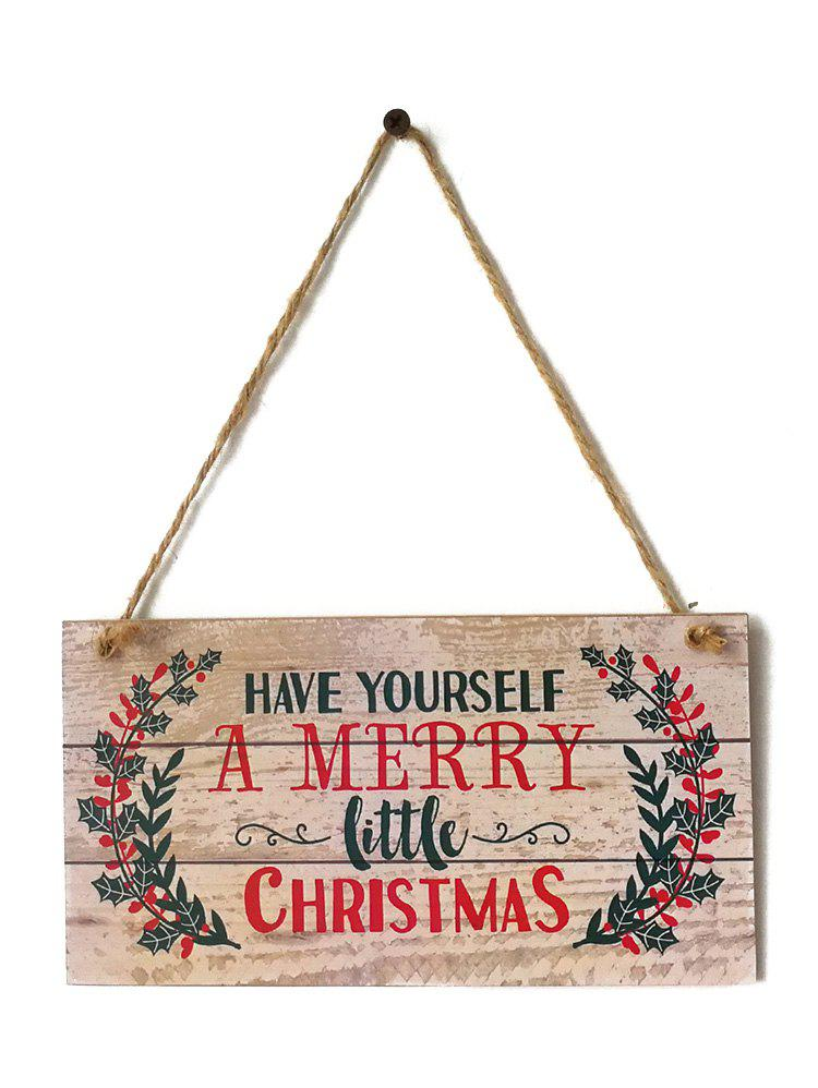 Merry Christmas Sign Wooden Hanging Decoration - BURLYWOOD