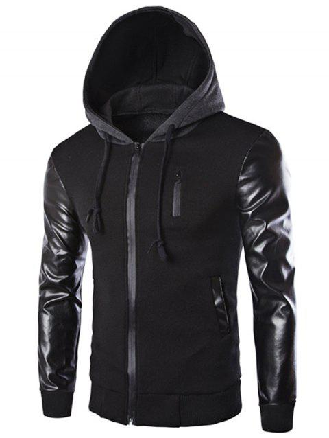 Vogue Drawstring Hooded PU Leather Spliced Zipper Design Long Sleeves Men's Slimming Jacket - BLACK XL
