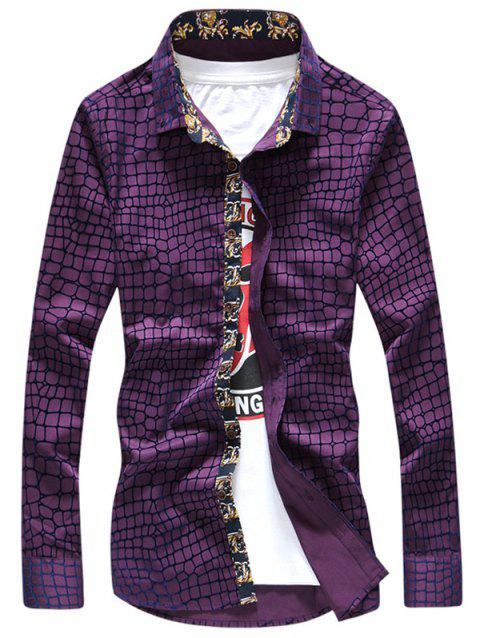 Graphic Checked Printed Long Sleeve Shirt - PURPLE 2XL