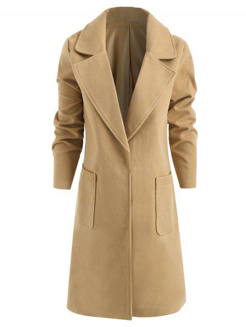 Front Pocket Single Breasted Plus Size Coat - BROWN SUGAR XL