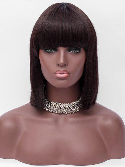 Full Bang Short One-length Straight Synthetic Wig - DEEP BROWN
