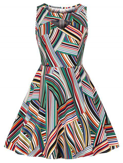 Vintage Cut Out Stripe Flare Dress - multicolor A 2XL