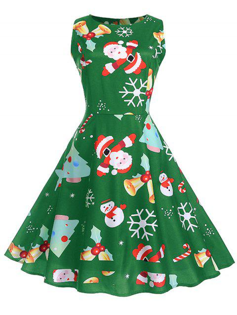 Christmas Vintage Print Fit and Flare Dress - GREEN APPLE M