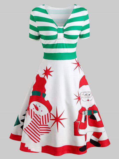 Christmas Snowman Print A Line Dress - multicolor S