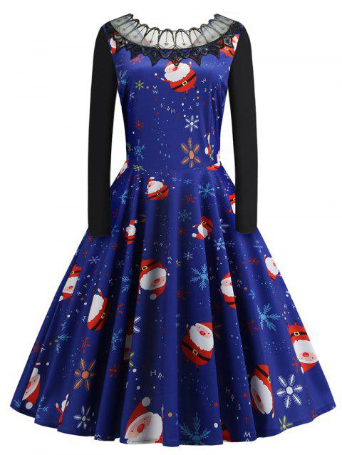 Plus Size Christmas Santa Claus Vintage Dress with Lace - BLUE 3X