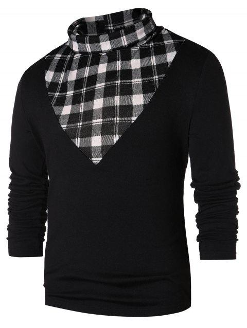 Checked Panel Turtle Neck T-shirt - BLACK XL